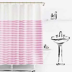 Kate Spade Pink and White Shower curtain NWOT